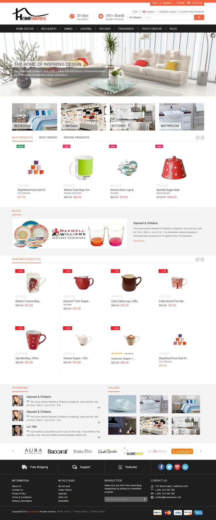 http://magento-homewares-theme.cmsmart.net/magento-themes/magento-homewares-theme Magento Homeware Theme is born bringing the trendsetting interiors and home furnishings to client in a stylish way. The theme has taken care much about brand advertising, and obviously it will drive your home decors store to be more eye-catching than before.