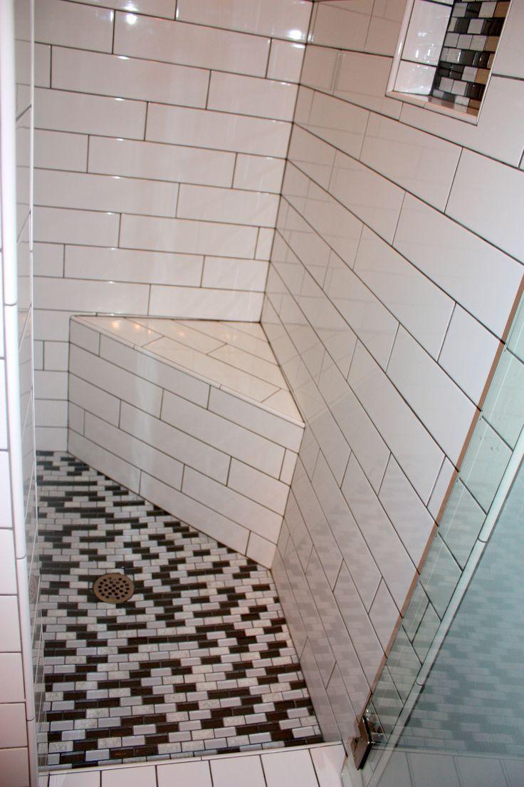Mosaic Grey And White Glass Floor Tile 3x9 White Subway