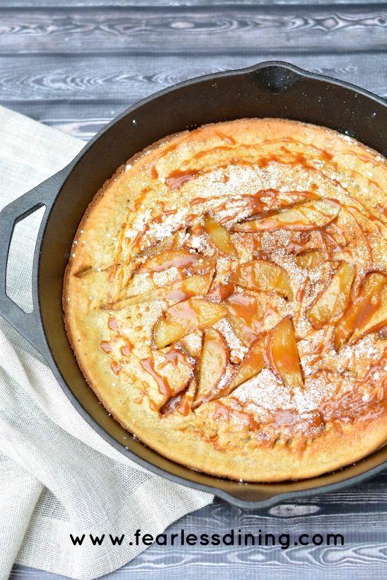 Gluten Free Pear and Caramel Dutch Baby Pancake http://www.fearlessdining.com
