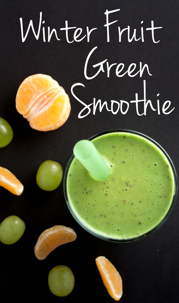 Brave the cold with this Vitamin-C packed Winter Fruit Green Smoothie   realfoodandicecream.com