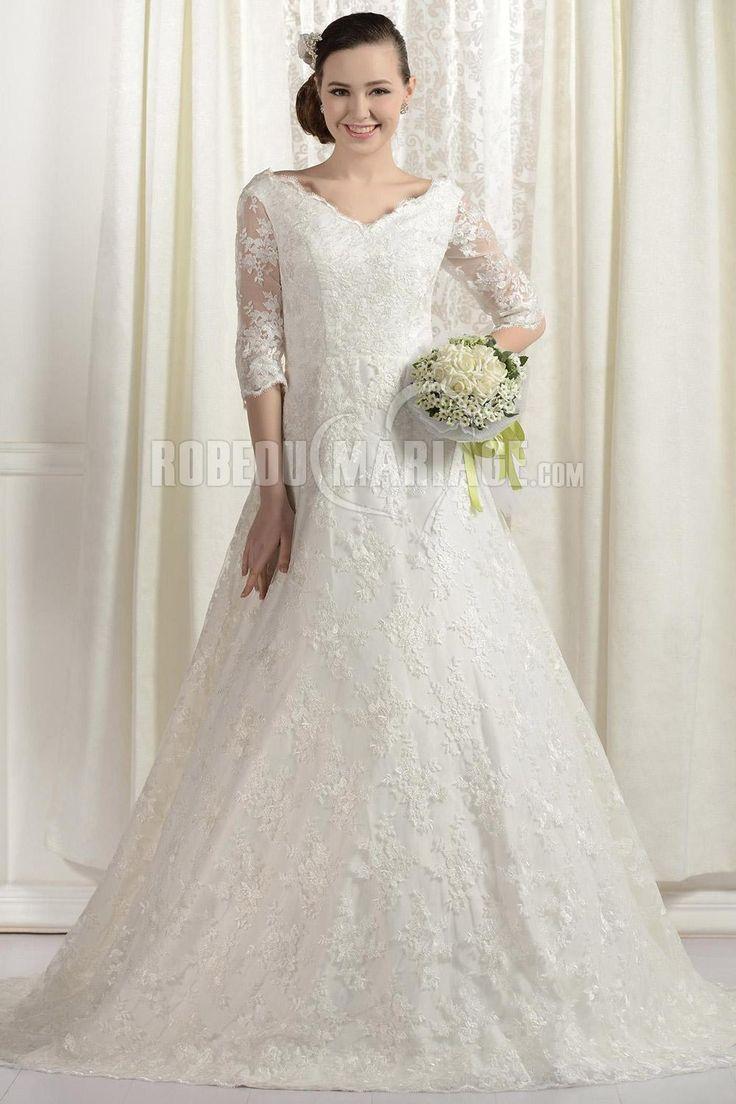 Col en V robe de mariée grande taille en dentelle à manches mi-longues [#ROBE2012438] - robedumariage.com