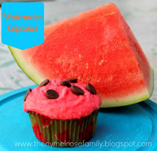 Watermelon Cupcakes on MyRecipeMagic.com #cupcake #watermelon