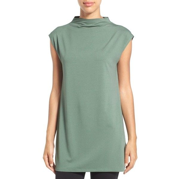 Women's Eileen Fisher Funnel Neck Jersey Tunic (3,145 MXN) ❤ liked on Polyvore featuring tops, tunics, eucalyptus, petite, slouchy tops, eileen fisher tops, green jersey, funnel neck top and green tunic