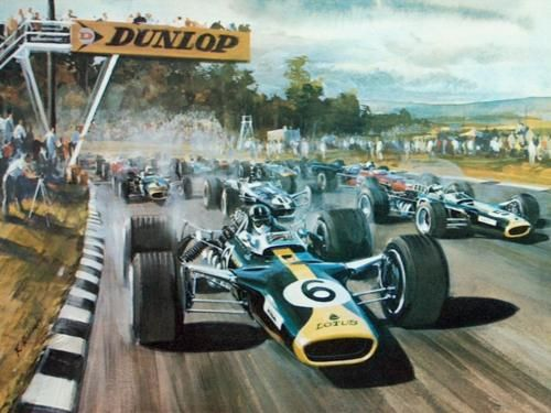 Artwork of the US Grand Prix 1967 at Watkins Glen.  Graham Hill leading in the Lotus 49.