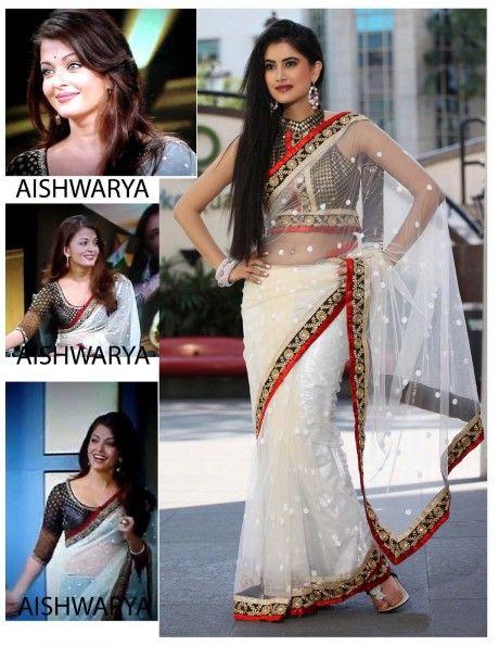 White Designer Sari Item code : SVA3033