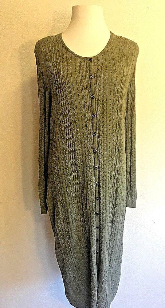 Peruvian Connection Cottoncashmere Button Down Sweater Dress Sage