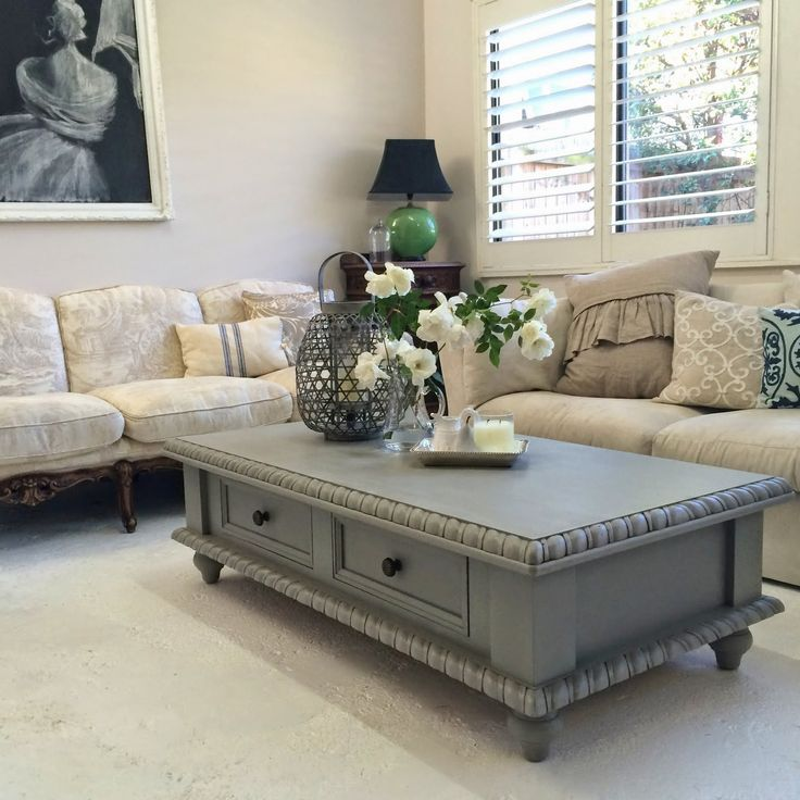 taupe painted coffee table and matching lamp table by Lilyfield Life