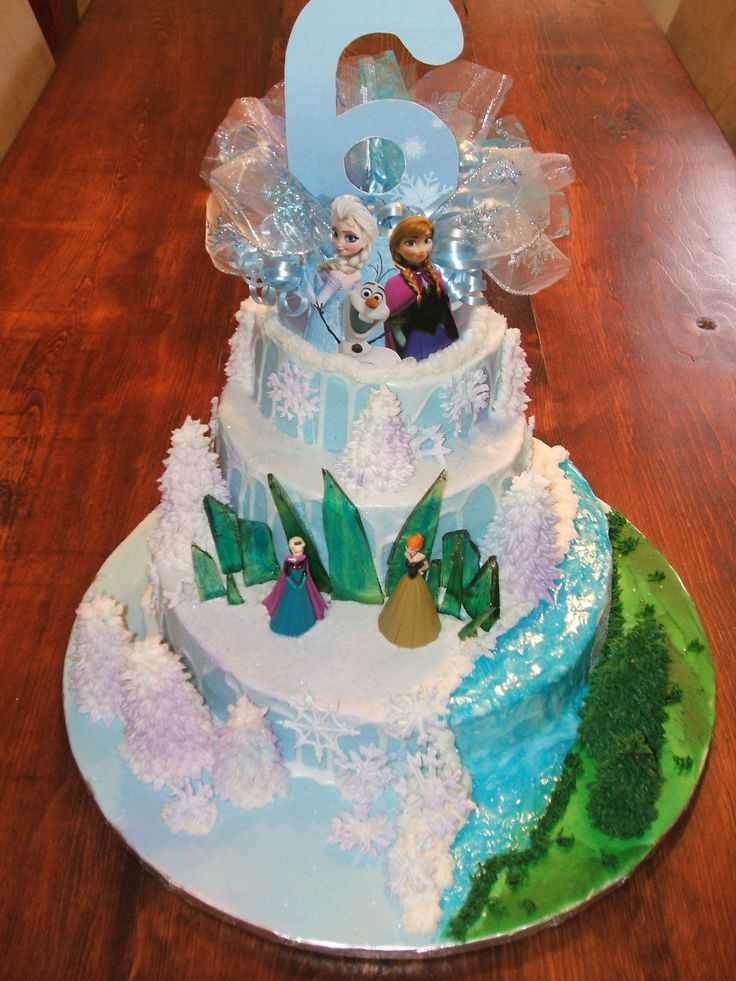 Frozen Birthday cake- inside the cake is rainbow layers- a little girls dream come true!