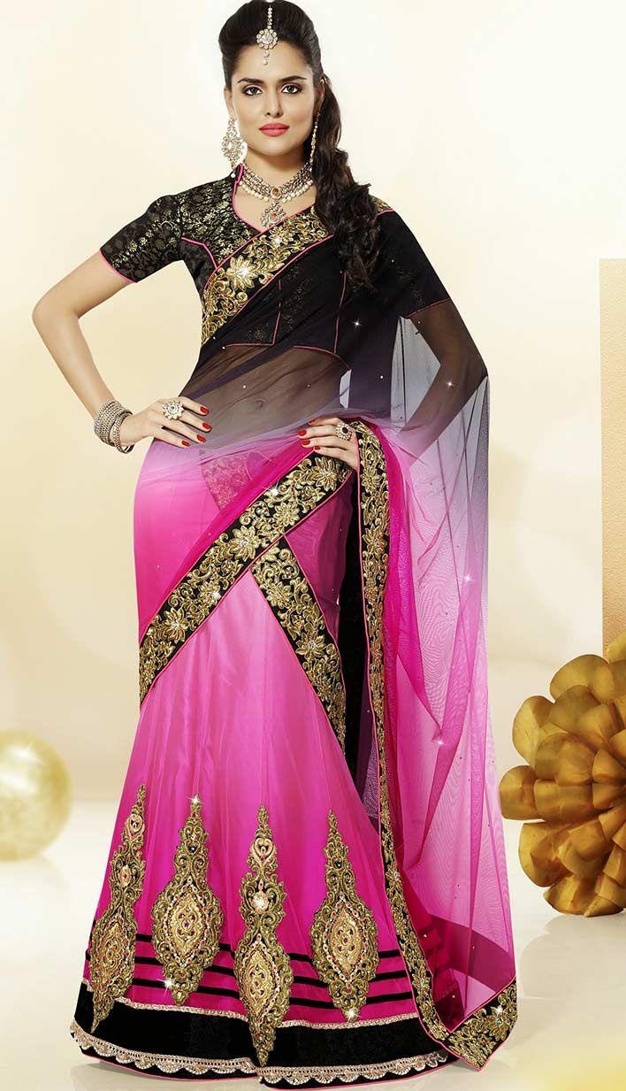 Buy Bollywood Latest Black Nett Satin Designer Lehenga Choli Online at affordable price with Efello.com.
