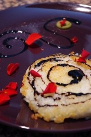 Fried risotto cake with wasabi and balsamic vinegar