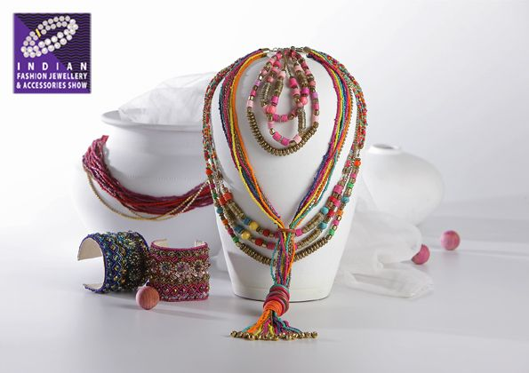 Summer Boho...multi strand necklaces and embellished bracelets with a variety of beads…at The Indian Fashion Jewellery & Accessories Show (IFJAS), 2016 #fashion #jewellery #tradeshow #ifjas