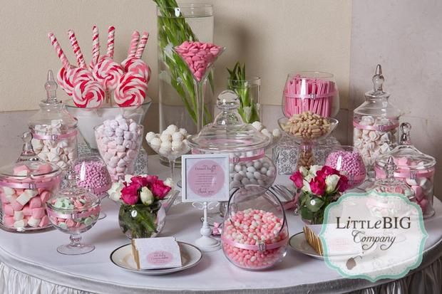 A cute idea for a birthday party, wedding, or tea party: Candybar, First Communion, Food Tables, Candy Table, Special Girls, Candy Bar, Pink Candy Buffet, Beautiful Pink, Desserts Tables