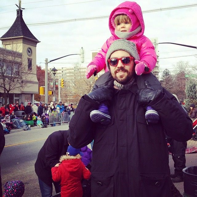 Son Tyler and Granddaughter Ivy at Christmas parade.