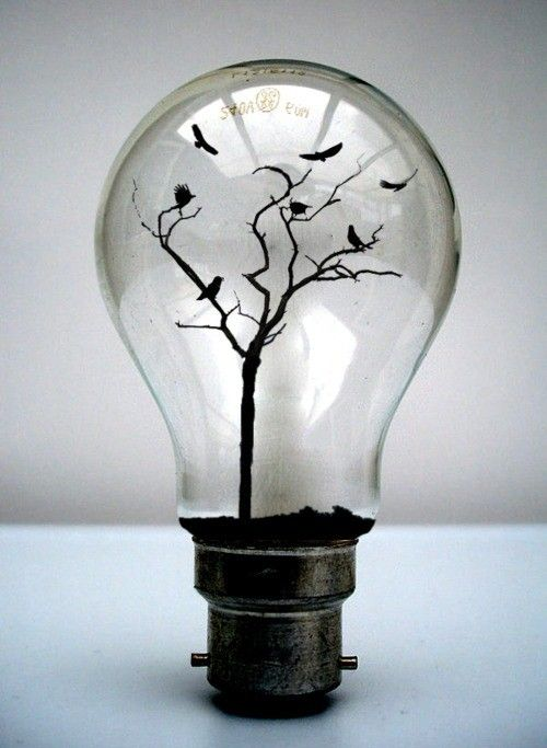 It's a mixture of life and death. The light bulb as in life and the crows as in death. Interesting isn't it.