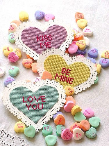 Conversation Hearts in cross stitch    From a design by Redefined Inc. featuring Tokens & Trifles perforated paper stitching cards.