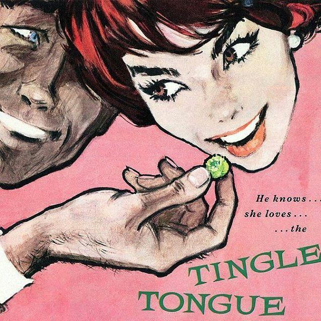 He knows she loves the Tingle Tongue Taste ▪ Rowntrees Fruit Pastilles Ad ▪ 1959 #tingle #tongue #taste #fruitpastilles #ad #illustration #vintage #50s #pink #Modernizor #illustration #couple #candy #fruitgums #UK #British #type #fruity #givemeone...