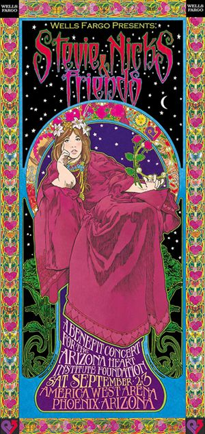 Stevie Nicks poster by by Bob Masse. Bob produced memorable concert posters for bands as far back as the '60's, and helped pioneer the emerging psychedelic art genre.