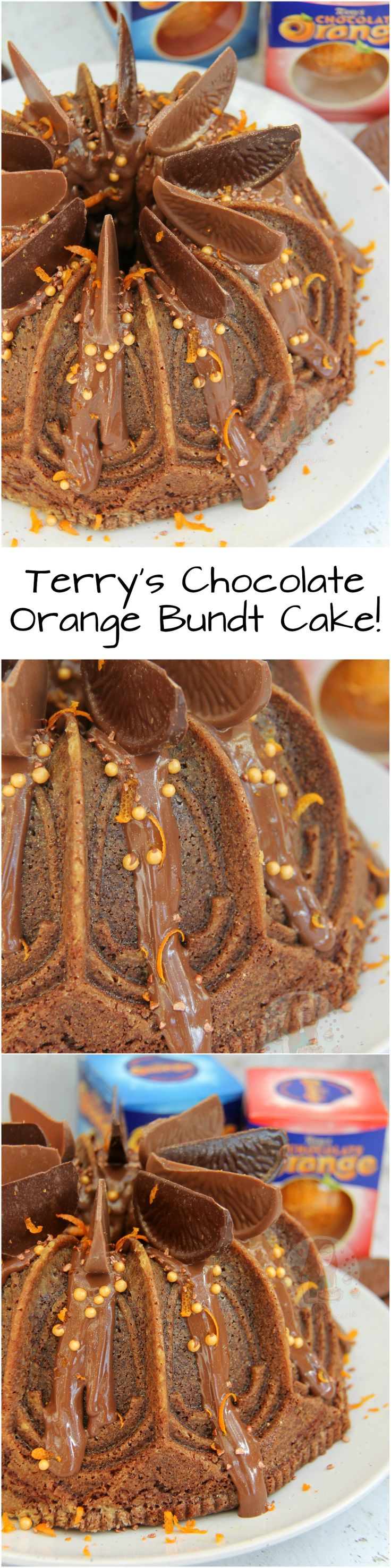 Terry's Chocolate Orange Bundt Cake!! Chocolate & Orange Zest Bundt Cake with Chocolate Orange Drizzle, and a dash more of Terry's Chocolate Orange!