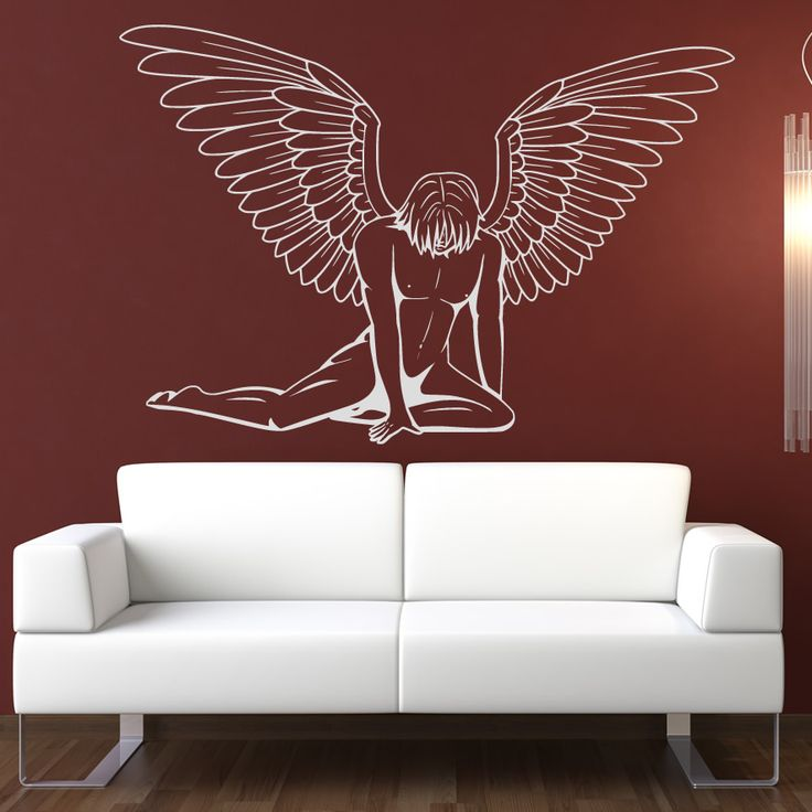 Angel wall decals details about male angel wall art for Angel wall mural