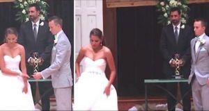 Novia abandona el altar durante la ceremonia de boda – pero mira atentamente sus manos