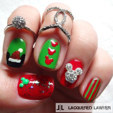 A Merry Mickey Christmas In 2018 Nail Art And Winter Holidays Pinterest Nails Disney