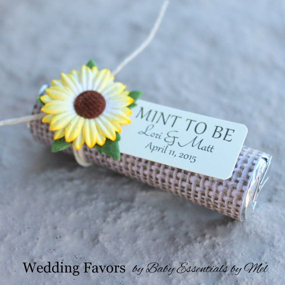 sunflower wedding favors with personalized tag - set of 24 mint wedding favors, burlap, rustic, fall theme, autumn, chic, sunflower wedding