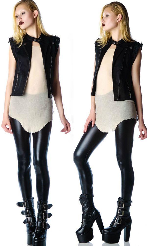 LIP SERVICE STUDDED SPIKE BIKER MOTO GOTHIC ROCKER ROCKABILLY PUNK JACKET VEST | Clothing, Shoes & Accessories, Women's Clothing, Coats & Jackets | eBay!