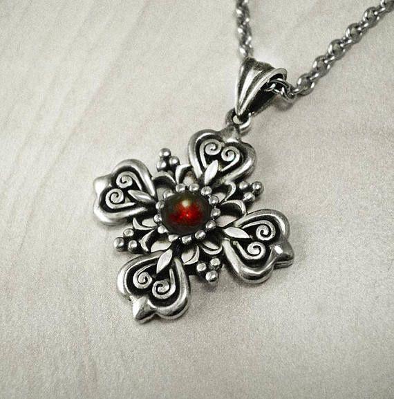 Silver cross pendantvictorian necklacevintage cross