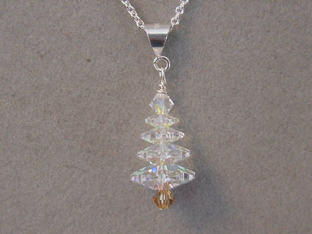 Christmas Jewelry necklace - Swarovski Crystal CHRISTMAS TREE Necklace Crystal AB - Choice Silver or Gold by magiccloset on Etsy