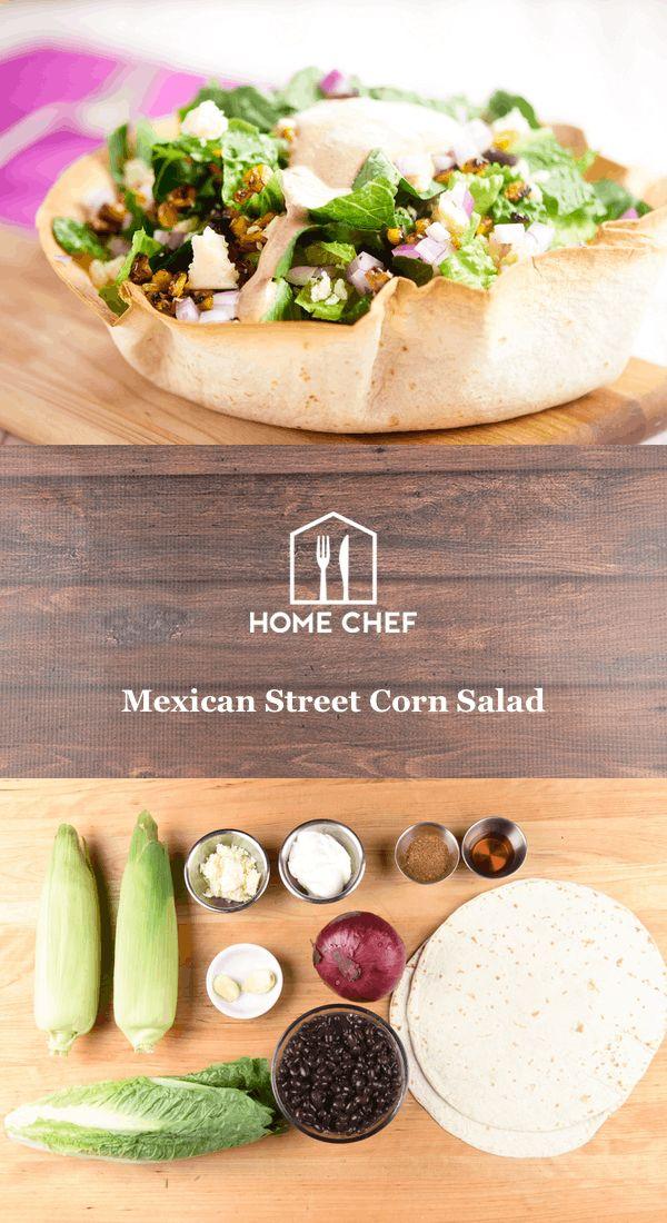 Mexican Street Corn Salad in a tortilla bowl