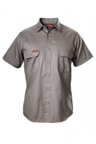 Hard Yakka Cotton Drill Shirt Short-Sleeve - Grey