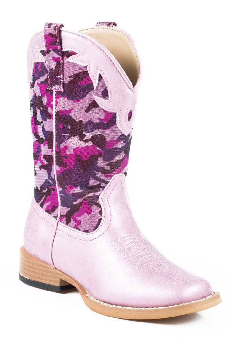 Roper Boots Kids Pink Faux Leather Glitter Camo Cowgirl
