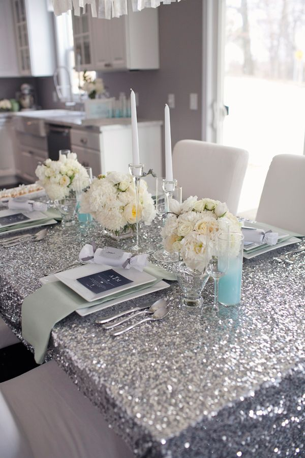 Sequin tablecloth for Hollywood glamour dinner party