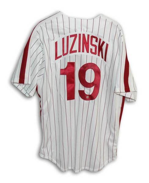 "Greg Luzinski Philadelphia Phillies Autographed Pinstripe Majestic Jersey Inscribed """"80 WSC"""""