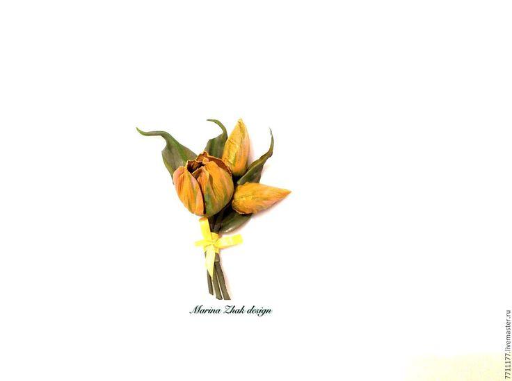 Купить Желтые тюльпаны из кожи - весенний букетик! - желтые тюльпаны, кожаные тюльпаны, весенний цветок