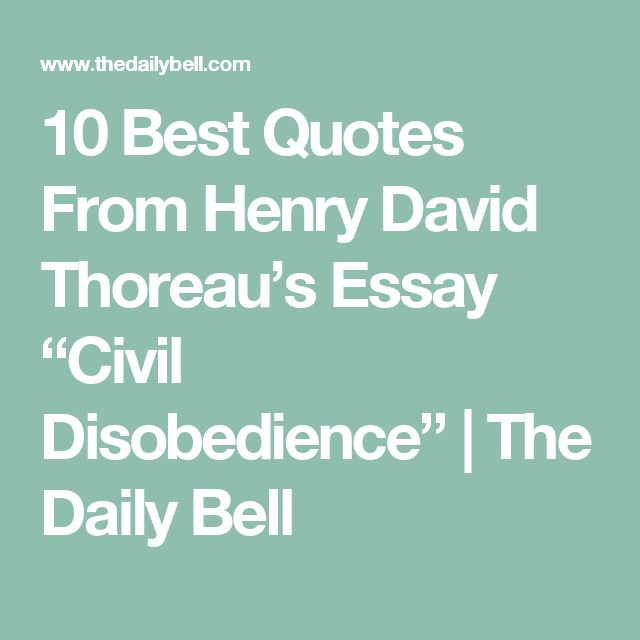 thoreau civil disobediance essay