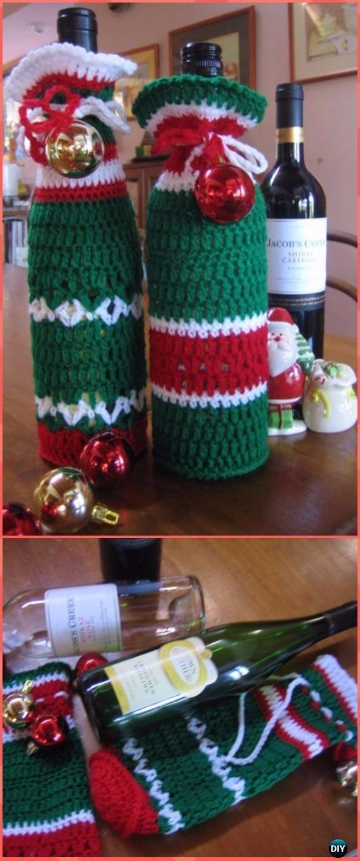 Crochet Happy Christmas Wine Bottle Bags Free Pattern Crochet Wine