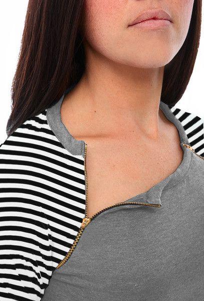 Harper and Bay Raglan Sleeve Nursing Dress - Grey/Stripes