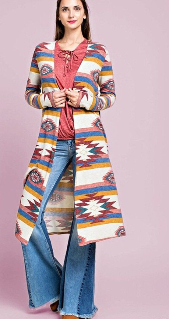 Navajo Print Long Cardigan in Ivory