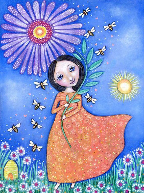 Girls wall art Beekeeper Girl art print by LindyLonghurst on Etsy