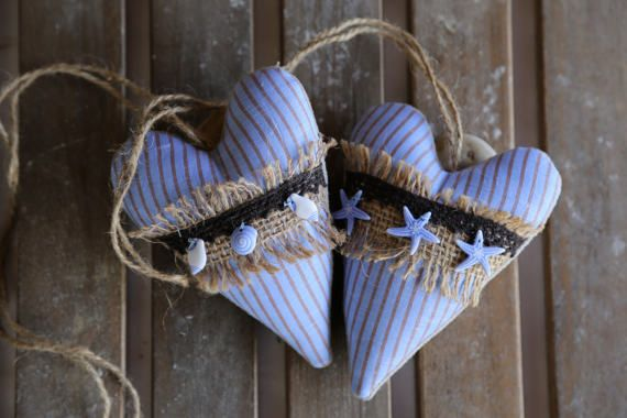 2 hanging fabric hearts Shells and sea stars. Home by donidinadya
