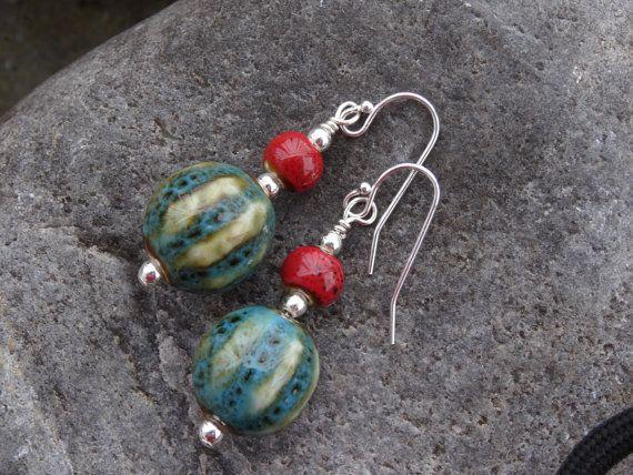 Drop earring sterling silver and porcelain by SilverWindsJewellery