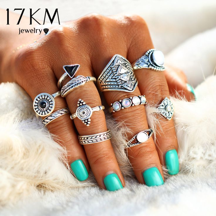 17KM Fashion Leaf Stone Midi Ring Sets New 2017 Vintage Crystal Opal Knuckle Rings for Women Anillos Mujer Jewellery 10PCS/Lot //Price: $5.97 & FREE Shipping //     #freeshipping