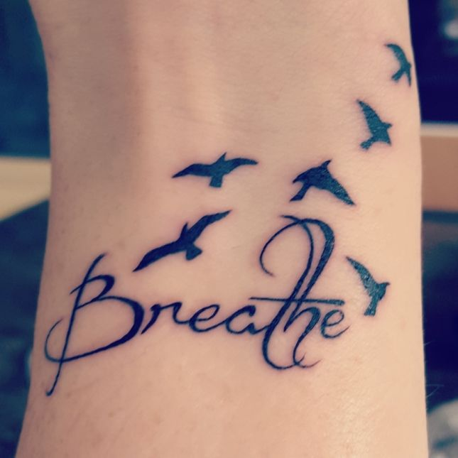 My first tattoo to remind myself to breathe, gifted to myself on my 38th birthday