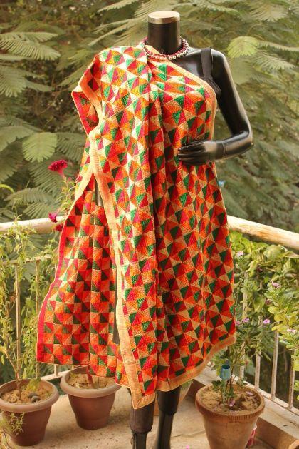 Buy Hand Embroidered Bagh Phulkari Dupatta