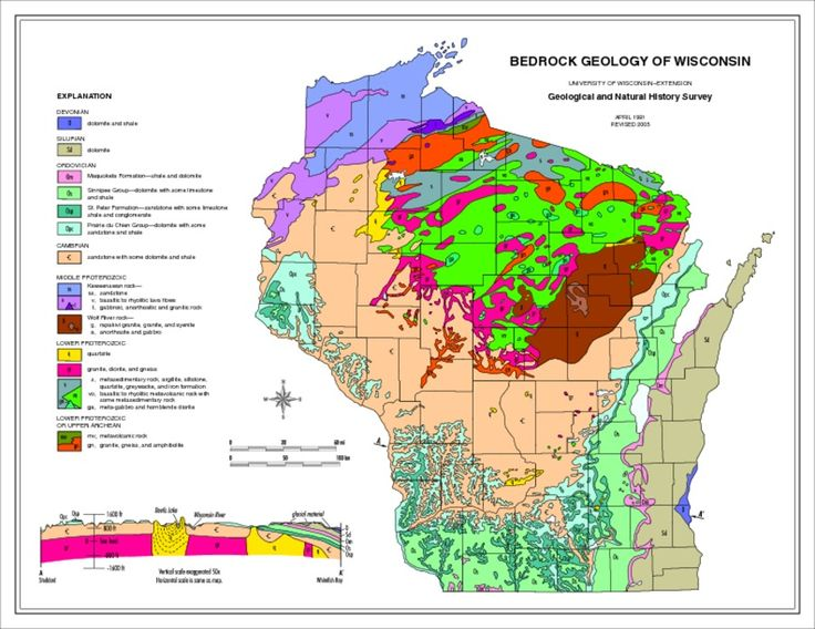 Bedrock Geology Of Wisconsin A Page Size Tool That Show