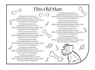 Nursery rhymes are a great way to introduce your child to rhythm, music and early literacy and numeracy skills. Print these nursery rhyme lyrics, so your child can have fun singing along to the lyrics of This Old Man! You can also download our This Old Man nursery rhyme mp3.