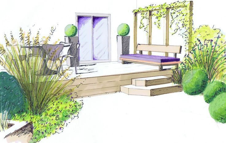 Decking for outside dining in small urban garden