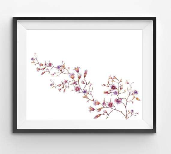 Watercolor Pink flower art watercolor print flower floral