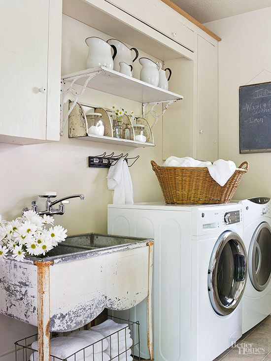 Even a utilitarian area like a laundry or craft room can wear the same style as the rest of the house. Paying extra attention to the design of a hard-working room will make it fun, as well as functional. Don't hesitate to transfer detergent into shapely glass canisters, hang vintage metal shelves to hold essentials, or press a large woven basket into service as a hamper. These items have to work hard anyway -- they might as well be beautiful!/